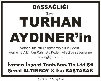 turhan aydıner başsağlığı ilanı